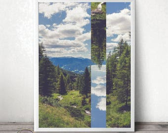 Nature Photography - Photo Collage - Pine Trees - Abstract Wall Art - Modern Home Decor - Mountains Photography - Travel Print - Wanderlust