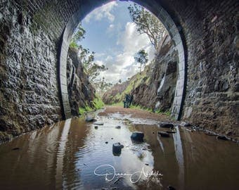Swan tunnel digital photography print, history, reflections, traintracks, childhood memories