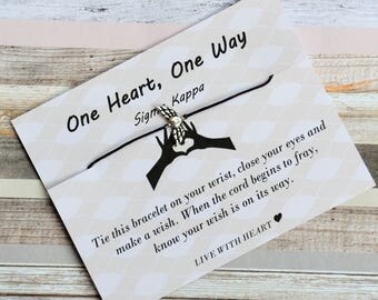 Sigma Kappa, One Heart, One Way,Wish Upon Your Wrist, Sorority Gift, Lil' Gift, Big Gift, Wish Bracelet, Sorority Jewelry, Winged Heart