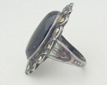 Antique 1930s art deco sterling silver ring Uncas Black Onyx