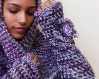 Wonderful Purple Crochet Snood and MittensTo Worm Your Sholders and Hands