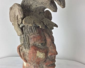 Large sculpture in the ground cooked MAYA INCA terracotta Mexico period vintage
