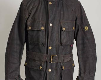 Cool Vintage Modren Belstaff TRIALMASTER Motorcycle Jacket Belted Size M good condition