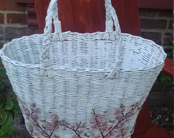 Woven Shopping Basket, Wicker Basket, Recycled Paper Basket, Decoupaged Basket