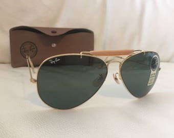 NOS Vintage Bausch & Lomb Ray-Ban Large Aviator Outdoorsman Sunglasses 62 * 14 - Free Post