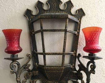 Vintage Wall Pocket Planter/ Wall Sconce Candle Holder with Glass Votives  Homco 4121 -USA