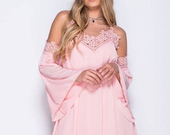 Pink dress with flared sleeves