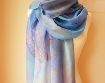 """Scarf""""Sea Turtle"""" Silk chiffon. Dyed and block printed by hand."""