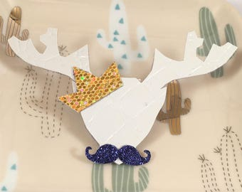 Crocodile head deer mustache and Gold Crown brooch