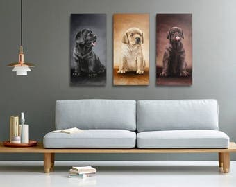 Labrador Retriever puppies - all three colors tryptic on canvas