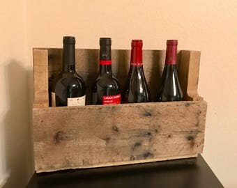 Reclaimed Pallet-Wood Wine Rack- 4 Bottle