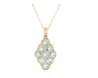 "9ct gold 2.00ct aquamarine & 0.006ct diamond pendant with 18"" chain"
