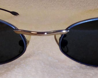New Vintage BY-RIDER Imported Italian Sunglasses Blue and Silver Frames Case Included New Old Stock