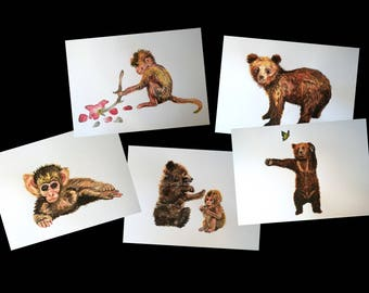 Postcards, set of 5 postcards A6, monkey and bear