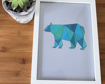 Handmade pastel geometric bear nursery print