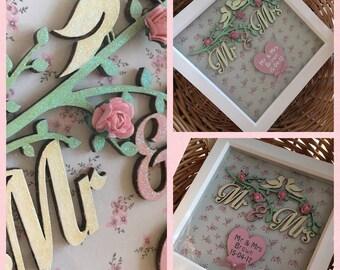 Mr & Mrs love bird personalised frame wedding gift