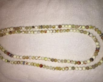 "Multicolor 60"" Quartz Necklace with CZ Rondels"