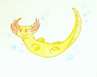 Axolotl Watercolor Painting