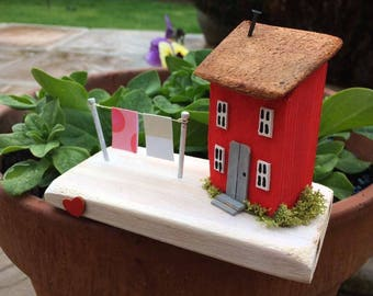 Collectable Hand Crafted Unique Pretty Wooden Cottages 'Strawberry Cottage'