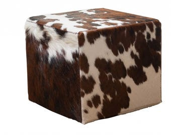 Coat stools made from cow skin / Bullhide cube stool square brown-white