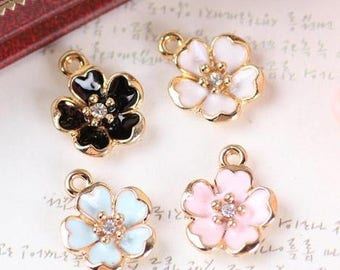 Gold cherry blossom charm set 3 colors 6 pieces pink white blue