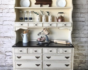 White Farmhouse Hutch,china Display, Country Cottage Kitchen Hutch, Dining