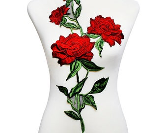 1piece Rose Embroidery Lace Applique Patches Lace Fabric Motif Venice Trimming Embossed Sew on Clothes Sewing Accessories T2009