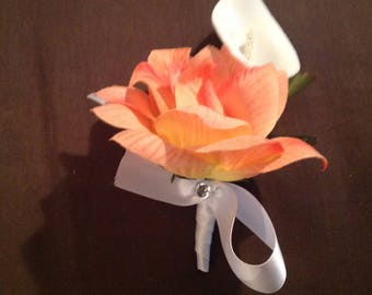Coral silk flower pin on corsage Ready To Ship