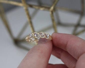Braided, Wrap Wire Bead Ring   Gold & Silver Tarnish Resistant Wire, Gift