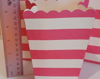 8 Pink and White Stripe Popcorn Boxes
