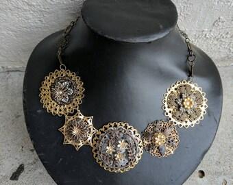 Statement piece, Multi Metals Necklace,Gold Necklace, Necklace, Sparkle Chain Necklacea