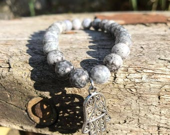 Grey Hamsa Hand Bracelet