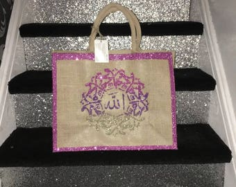 Large ombré glitter Islamic jute mosque bag
