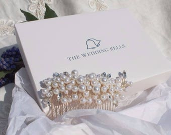 Gold and Pearl Bridal Hair Comb - 'Eva'