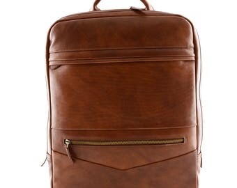 Genuine Leather Man Backpack with Laptop Pocket