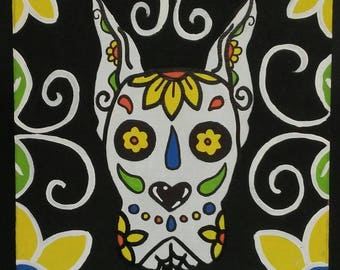 Day of the Dead Sugar Skull Great Dane Dog Painting