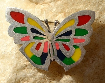 Beautiful Vintage Taxco Sterling Silver Butterfly Brooch Pin with colorful inlays