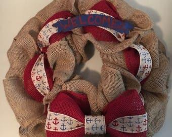 Handmade burlap welcome wreath