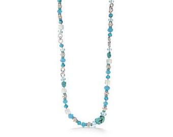 Turquoise Beaded Strandage Necklace