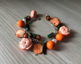 Bracelet with mandarin oranges in polymer clay polymer clay