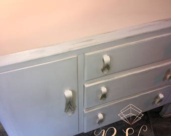 Solid wood grey and peach art deco sideboard