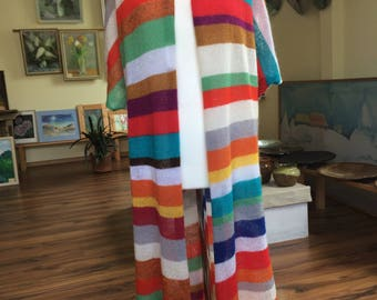 Rainbow Colour Short Sleeves Long Cardigan/Vest
