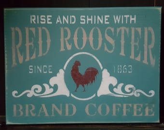 Country Rustic Red Rooster Vintage Teal Wood Sign