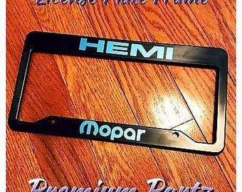 Dodge Plymouth Mopar Hemi License Plate Frame New Vinyl Design Plastic License Plate Universal Rare Challenger Ram Charger