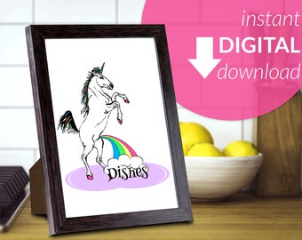 Unicorn Go Wee Wee on Dishes with Rainbow, Printable Wall Art Decor | Instant Digital Download | Print At Home Art | Kitchen Decor Funny Art