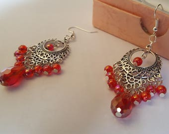 rain bow  red teardrop and beads , earrings