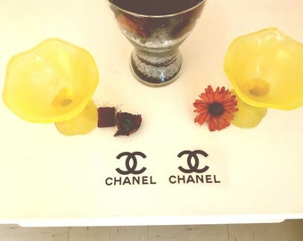 2 x Chanel Stickers, Iron On Decals, textile Flex, t-shirt transfer, heat transfer, fusible