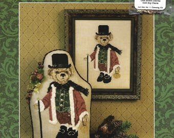 """JUST NAN - Shenanigans """"Ebenezer"""" Cross Stitch Pattern for a Shelf Sitter or Framed Picture, Embellishments Included for the Christmas Bear"""