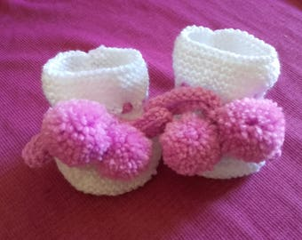 White and pink slippers handmade 0-3 months