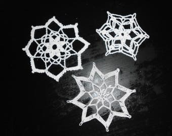 Three small crocheted Doilies